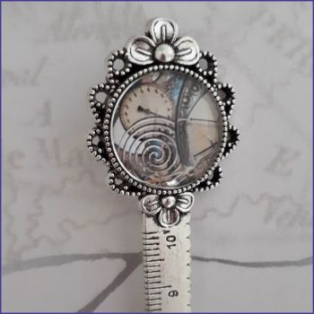 Steampunk Cabochon Bookmark Brooch Journal Page Saver Measuring Tape Ruler