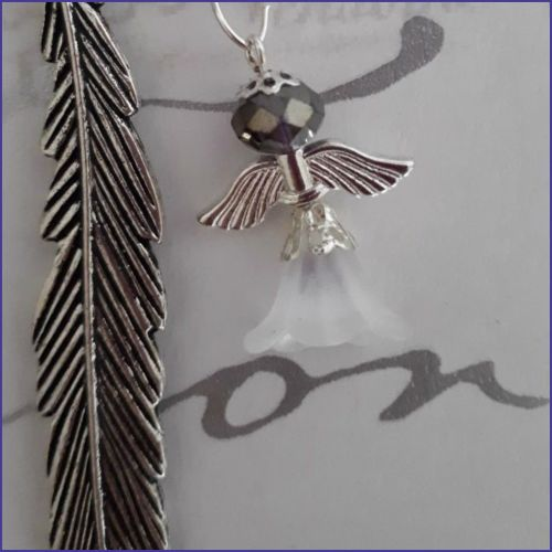 Feather Design Angel Charm Bookmark Page Saver