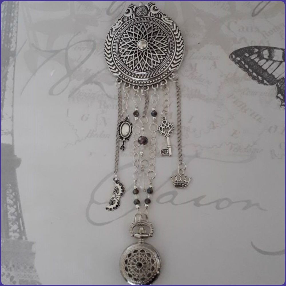 Handmade Brooch Chatelaine Jewellery Pocket Watch Crystal Beads  Charms