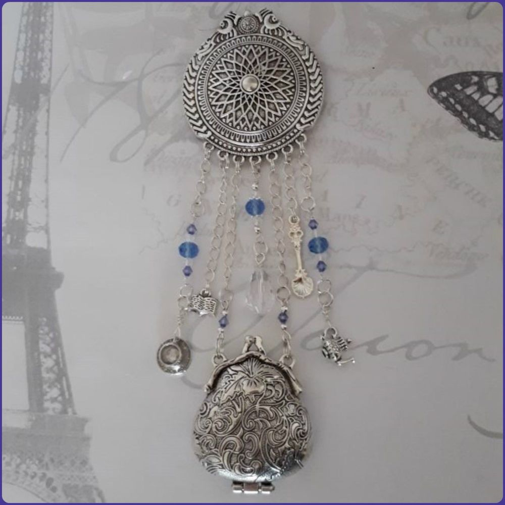 Handmade Brooch Chatelaine Jewellery Purse Locket Crystal Beads  Charms