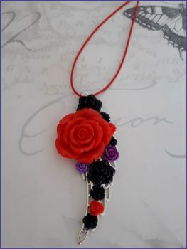 Flower Floral Necklace Resin Cabachon Roses Handmade