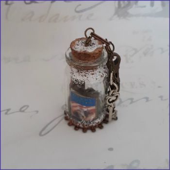 Miniature Bottle Vial Keyring Bag Charm Book Map Hourglass