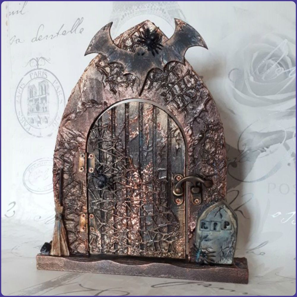Mixed Media Faerie Fairy Door Gothic Handmade