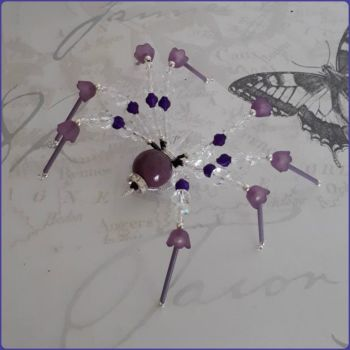 Beaded Wall Spider Home Decor Glass Crystal Purple Handmade
