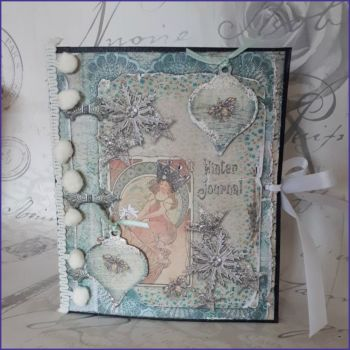 Handmade Junk Style Journal Book Christmas Bauble Winter
