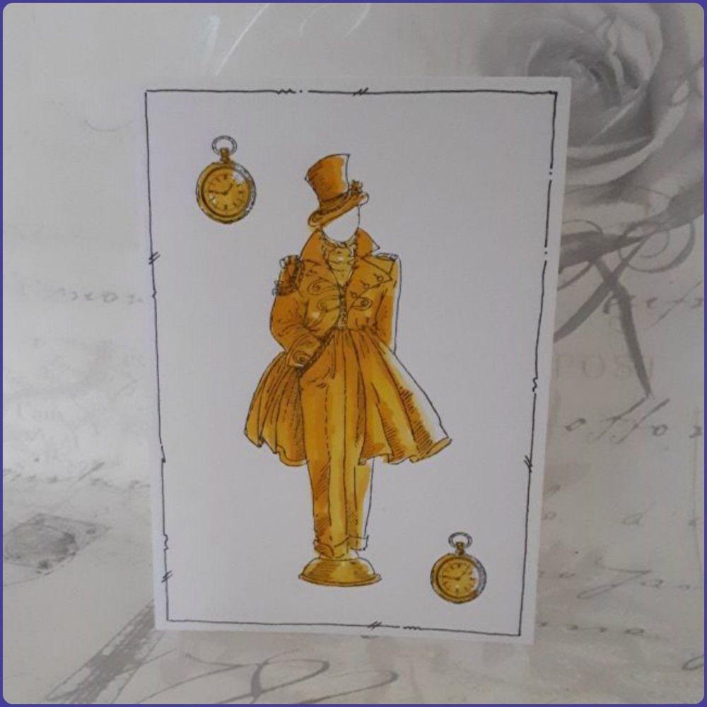 Victoriana Steampunk Inspired Birthday Greetings Card Notecard Watercolour