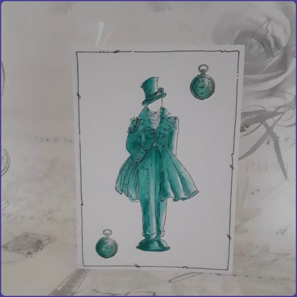 Victoriana Steampunk Inspired Birthday Greetings Card Notecard Watercolour