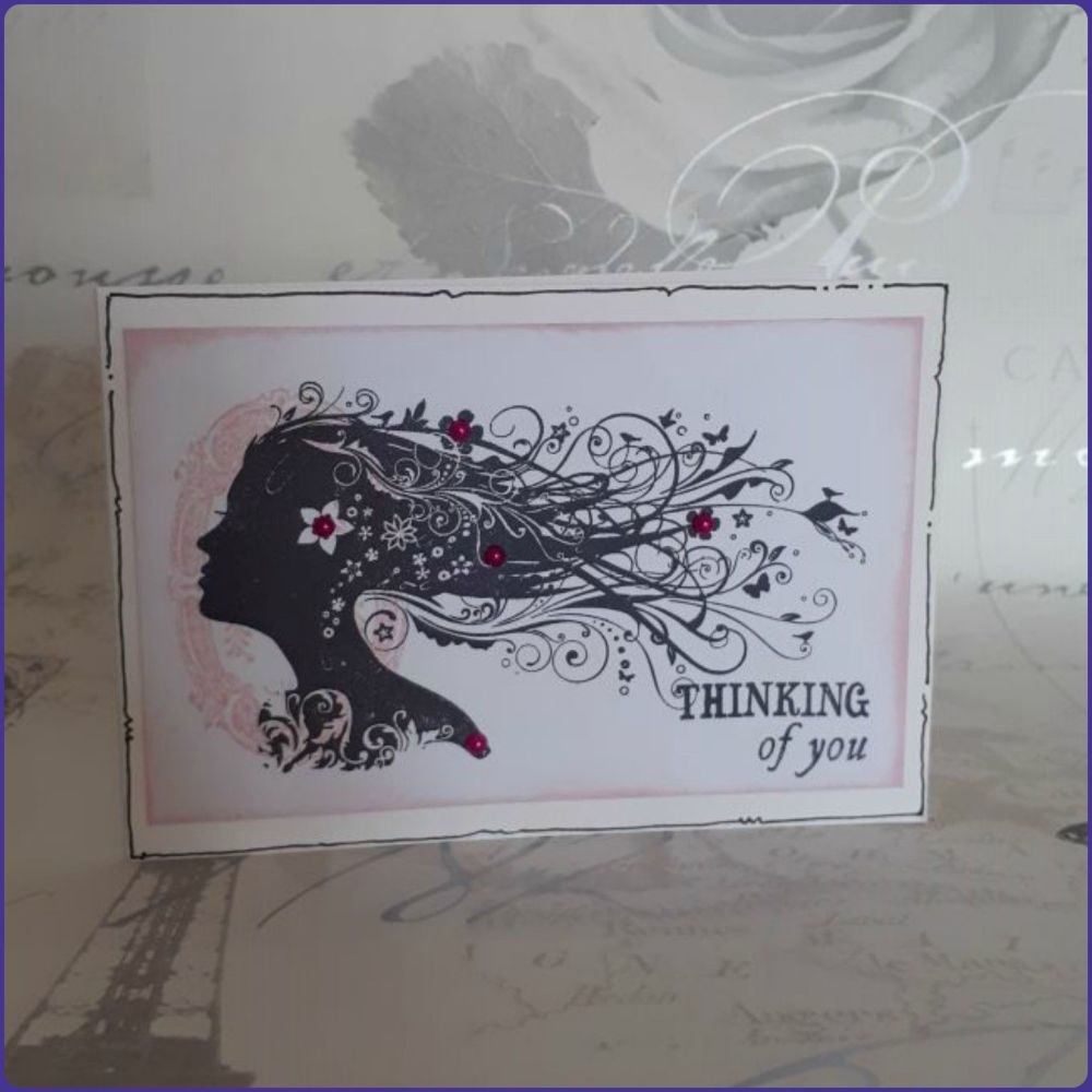 Thinking Of You Greetings Card Birthday Anniversary Fantasy Floral