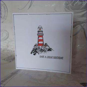 Ocean Nautical Lighthouse Birthday Greetings Card