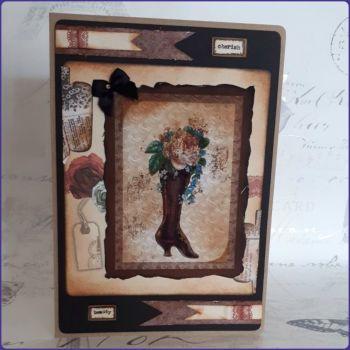 Victoriana Steampunk Inspired Birthday Greetings Card Notecard