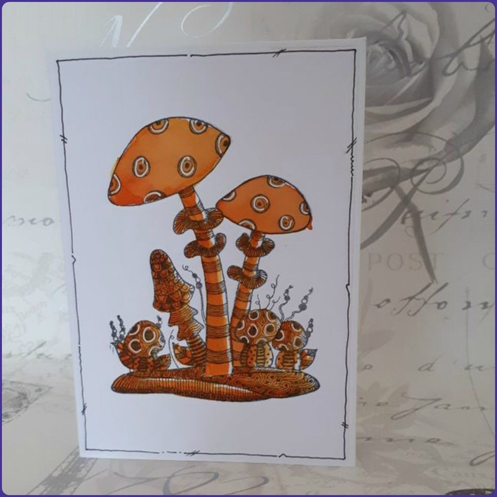 Zentangle Inspired Toadstool Greeting Card  Notecard Watercolour