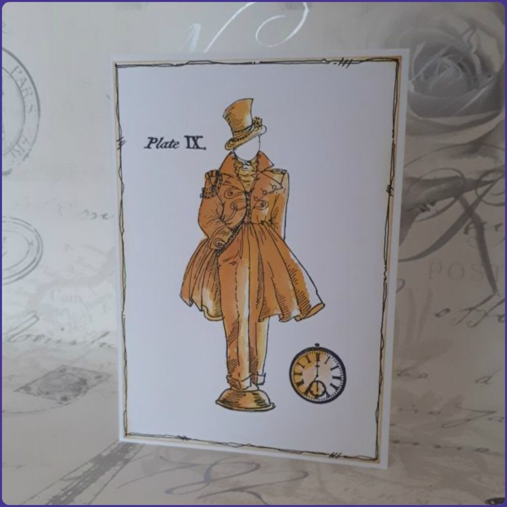Steampunk Inspired Watercolour Greetings Card Notecard Birthday