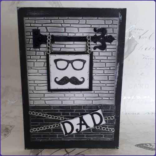 Father's Day Birthday Greetings Card Steampunk Inspired Black & White