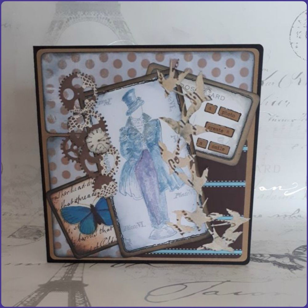 Steampunk Inspired Victorian Gentleman Birthday Greetings Card