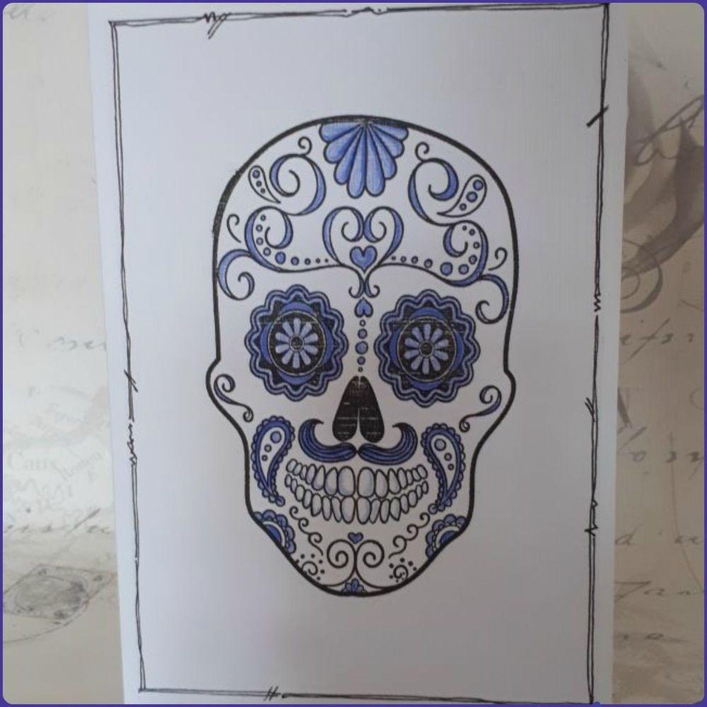 Sugar Skull Greeting Card Notelet Birthday Skeleton Face Day Of The Dead