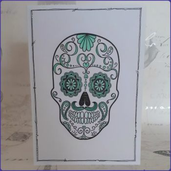 Sugar Skull Greeting Card Notelet Birthday Skeleton Face Day Of The Dead