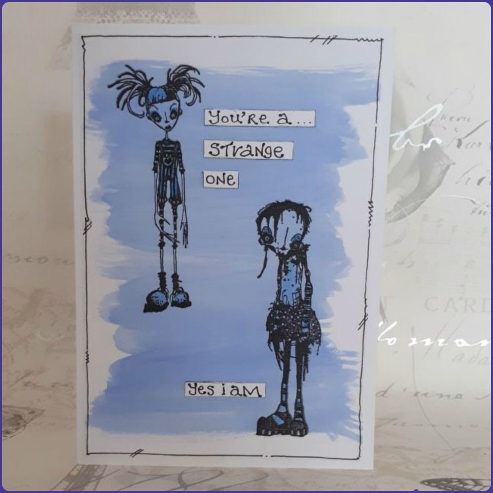 Freaky Goth Girls Greetings Card Notelet Watercolour Birthday