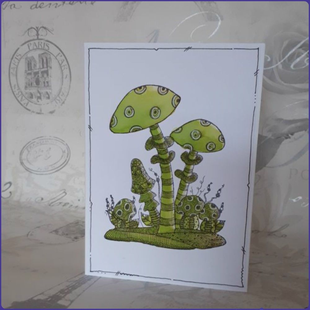 Zentangle Style Watercolour Stamped Toadstool Greetings Card Notelet