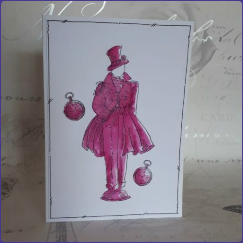 Steampunk Inspired Stamped Watercolour Notecard Birthday Greetings Card