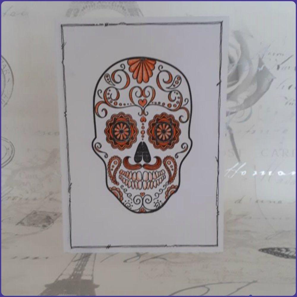 Sugar Skull Greeting Card Notelet Birthday Skeleton Face