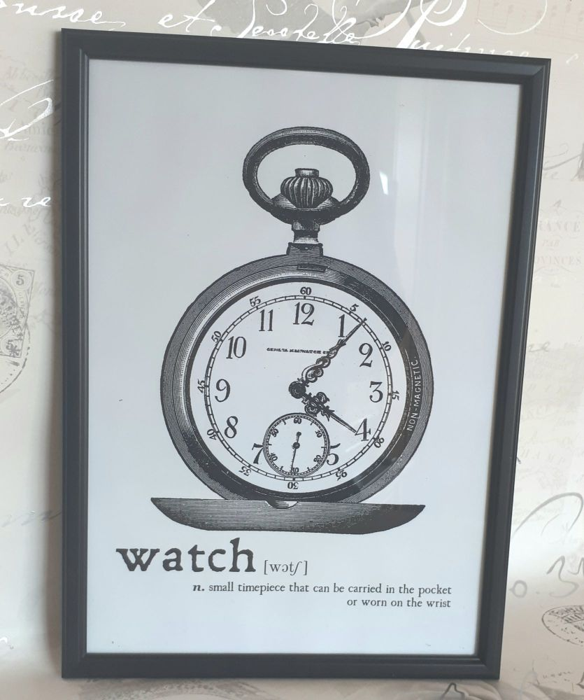 Pocket Watch Digital Art Print Steampunk Inspired Framed