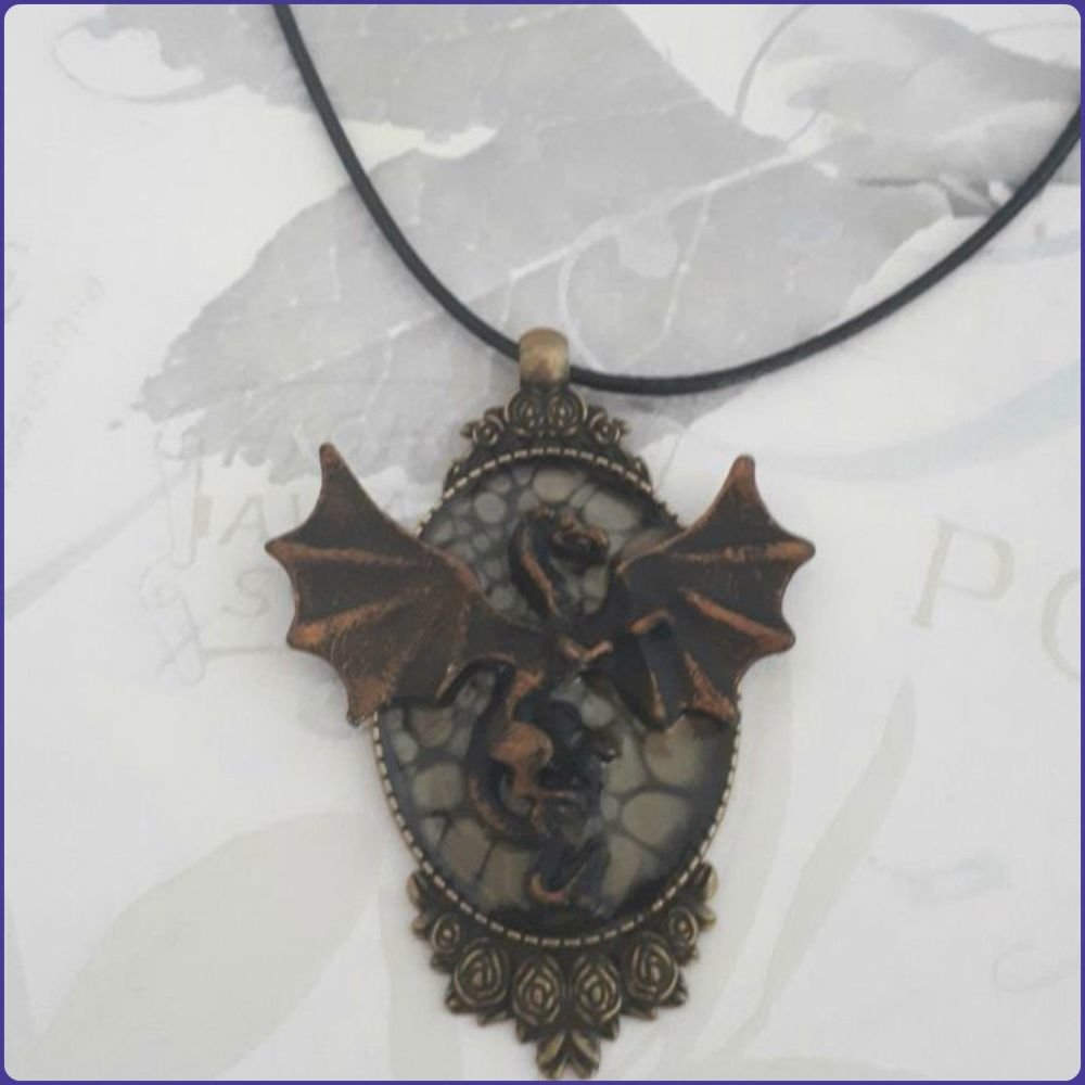Dragon Pendant Necklace Bronze Handmade Art Paint Jewellery