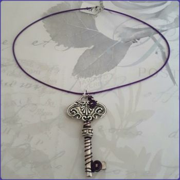 Silver Key Wire Wrapped Pendant Necklace