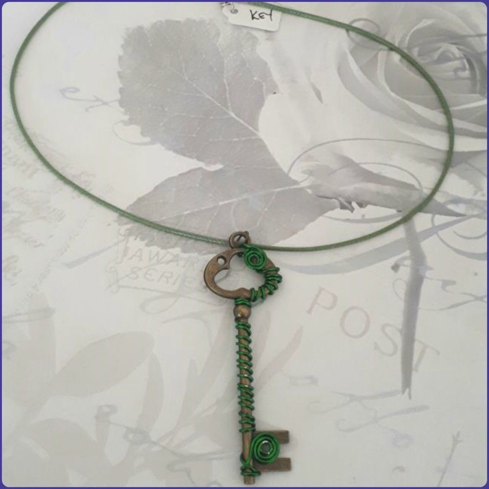 Wire Wrapped Key Pendant Necklace Jewellery