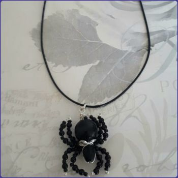 Mini Spid Beaded Spider Pendant Necklace Arachnid Jewellery