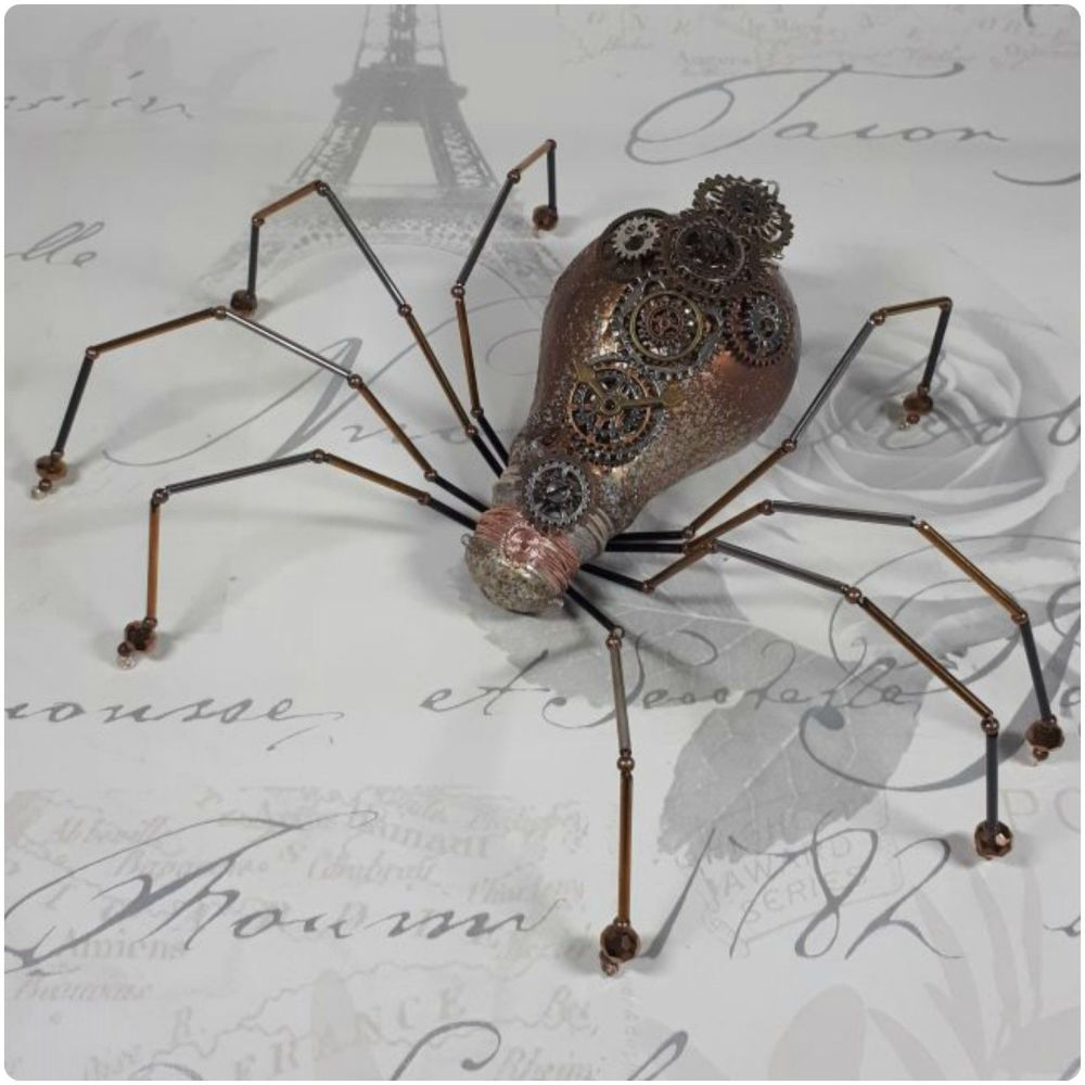 Steampunk Recycled Upcycled Large Crystal Glass Beads Lightbulb Spider Hand