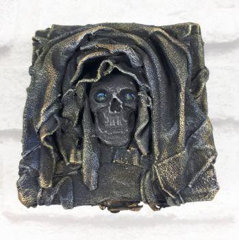 Mixed Media Goth Gothic Skull Trinket Box Sculpture Home Decor