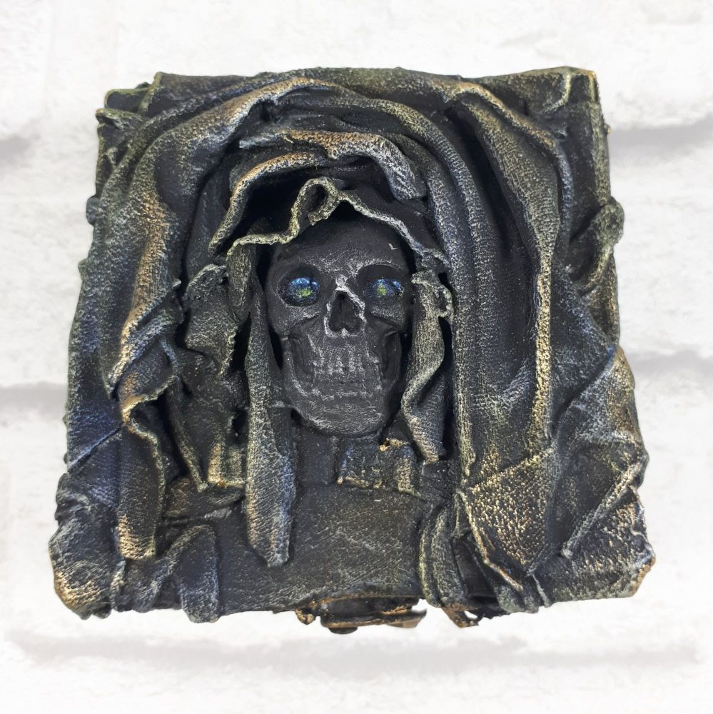 Mixed Media Goth Gothic Skull Trinket Box Sculpture Home Decor