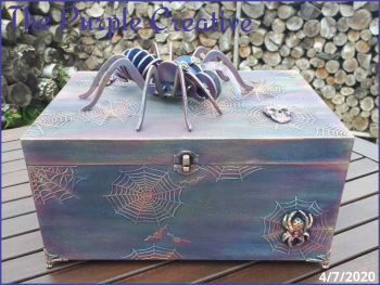 Spider Arachnid Home Decor Storage Trinket Box Mixed Media