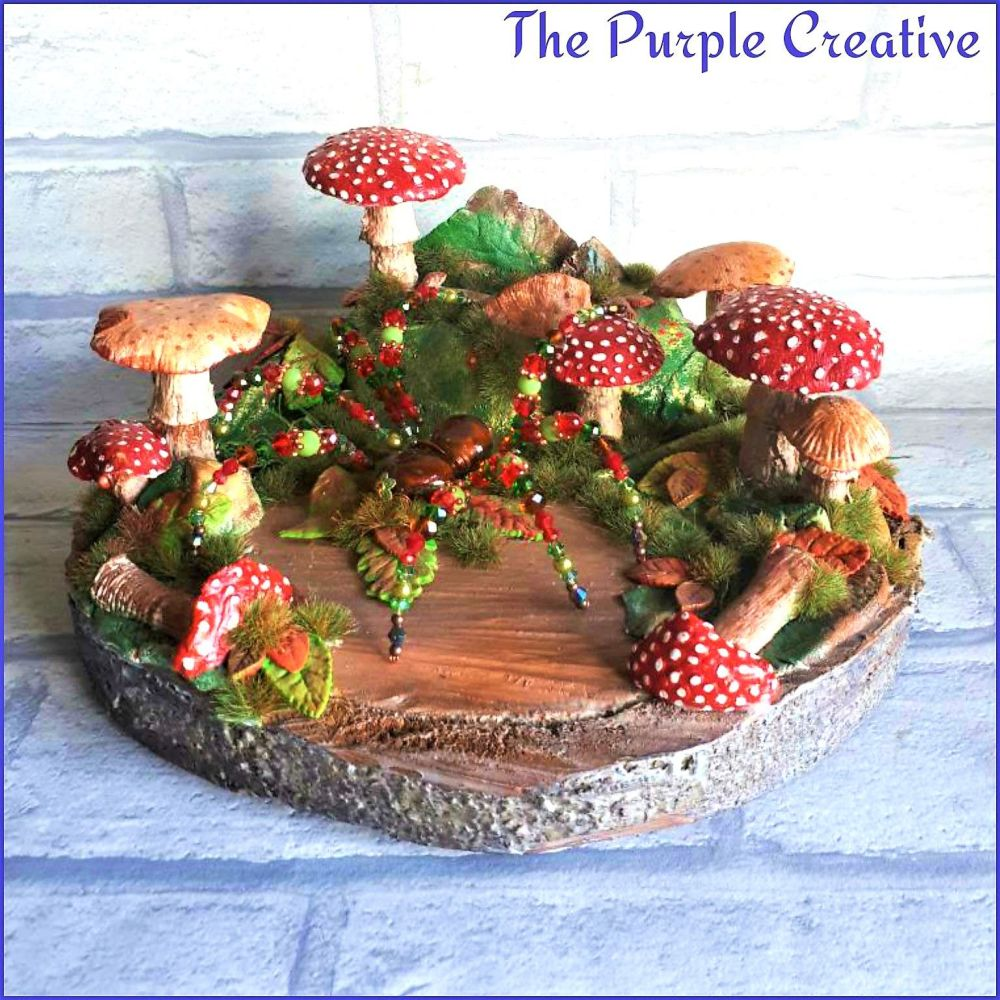Log Slice Spider Fairy Garden Toadstool Shroom Sculpture