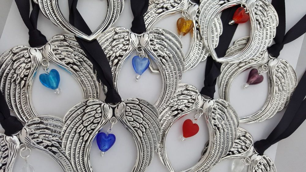 Christmas Angel Wings with birthstone heart