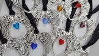 Angel Wings with birthstone heart