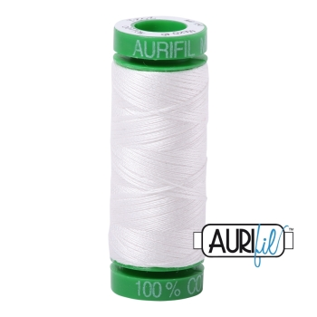 Aurifil Thread 2021 - Natural White 40WT (Small Green Spool 150m)