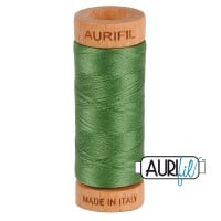 Aurifil Thread 2890 80 WT Very Dark Grass Green - 274m Small Wooden Spool