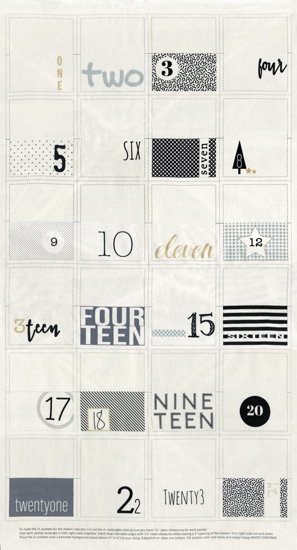 White Christmas by Zen Chic for Moda - Christmas Countdown Calendar