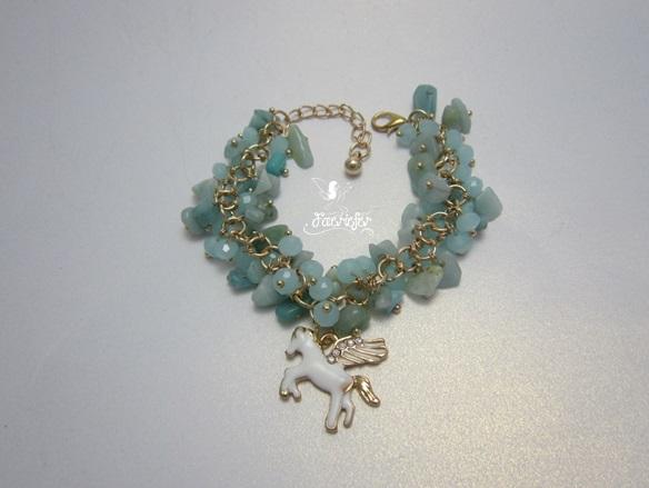Pegasus Gemstone bracelet with aquamarine or amethyst