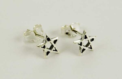 Sterling silver Pentagram cut Earrings
