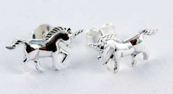 Unicorn stud Earrings sterling silver
