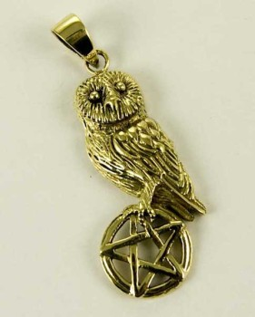 Owl on Pentagram pendant by Lisa Parker - Bronze