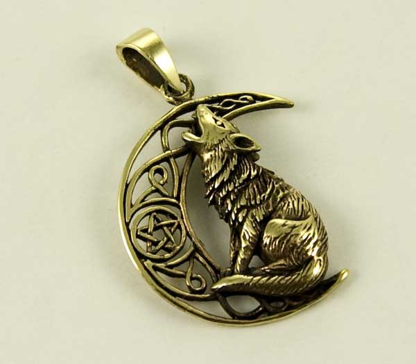 Bronze Howling Wolf pendant by Lisa Parker