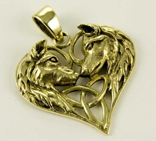 Wolf Heart bronze pendant by Lisa Parker
