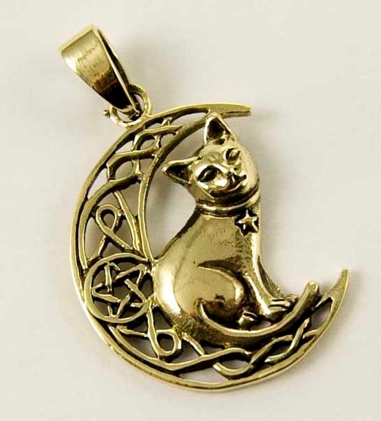 Bronze Cat on Moon pendant by Lisa Parker