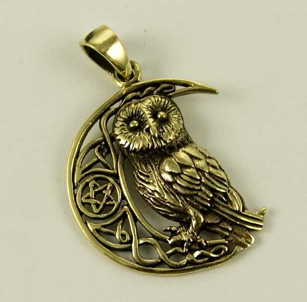 Bronze Owl on the Moon pendant by Lisa Parker