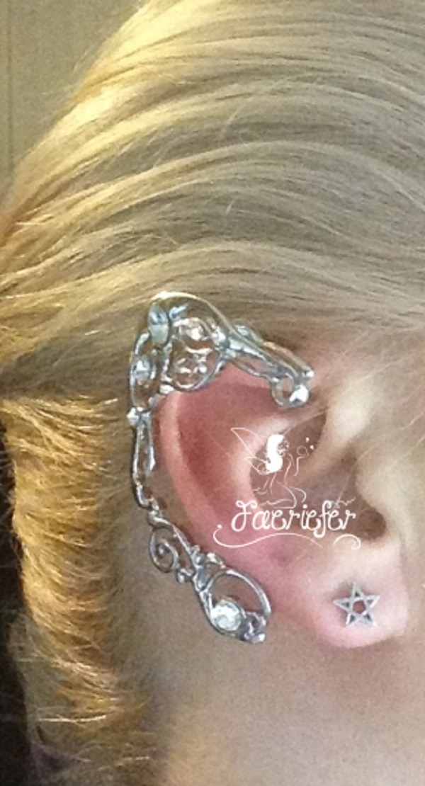 Faerie Elven crystal Ear cuffs in silver or gold