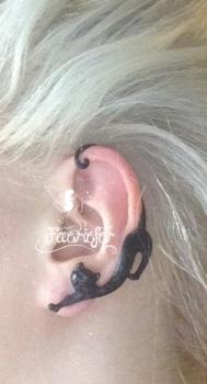 Wiccan Familiar black cat ear cuff