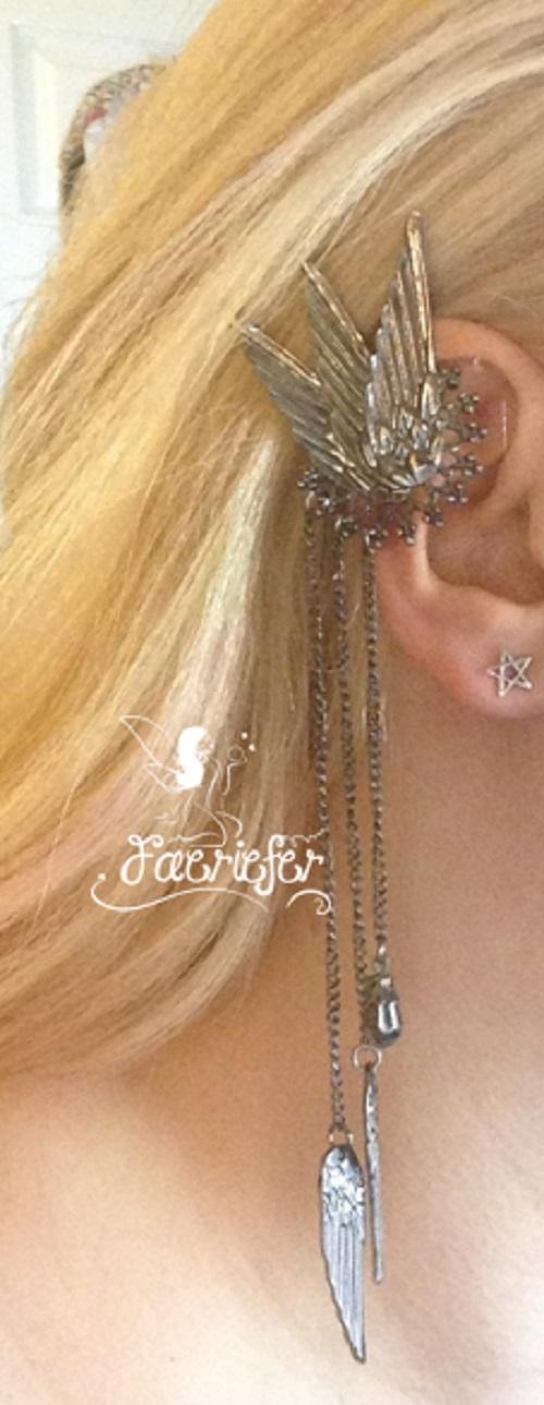 Fallen Faerie gothic winged Ear Cuff